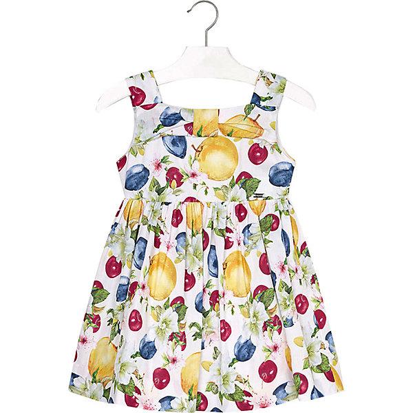 Платье Mayoral для девочкиЛетние платья и сарафаны<br>Характеристики товара:<br><br>• состав ткани: 100% хлопок<br>• подкладка: 50% хлопок, 50% полиэстер<br>• сезон: лето<br>• застёжка: скрытая молния на спинке<br>• особенности: повседневное<br>• платье без рукавов<br>• страна бренда: Испания<br><br>Платье на широких бретельках украшено бантом на груди. Отрезная юбка в складку. Горловина квадратной формы. Материал дышащий, комфортная посадка не стесняет движений. Декорировано фруктовым принтом.