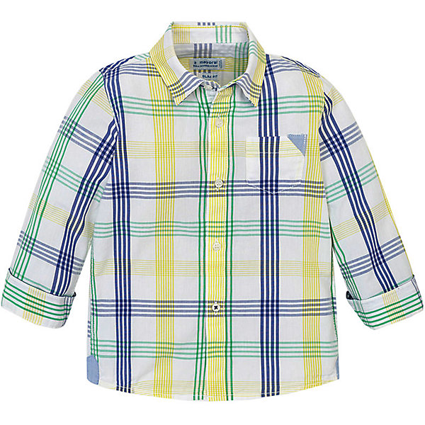 Купить Рубашка Mayoral для мальчика, Бангладеш, зеленый, 110, 116, 122, 98, 128, 134, 104, Мужской