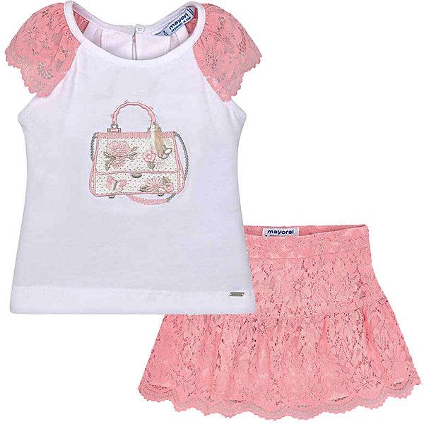 Купить Комплект: Топ и юбка Mayoral для девочки, Китай, розовый, 92, 110, 122, 128, 98, 134, 116, 104, Женский