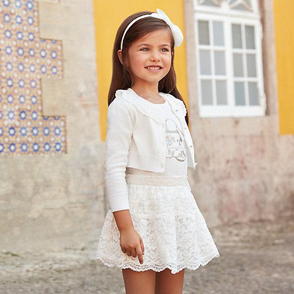 Купить Комплект: Топ и юбка Mayoral для девочки, Китай, бежевый, 134, 98, 122, 110, 92, 128, 104, 116, Женский