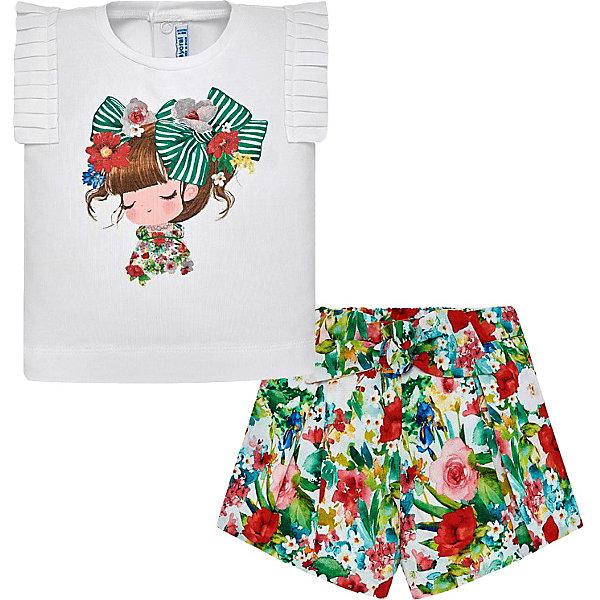 Комплект Mayoral: футболка и шортыКомплекты<br>Характеристики товара:<br><br>• состав футболки: 96% хлопок, 4% эластан<br>• состав шорт: 100% хлопок/подкладка: 50% хлопок, 50% полиэстер<br>• сезон: лето<br>• застёжка: кнопки<br>• страна бренда: Испания<br><br>Комплект из мягкой и эластичной ткани приятно облегает, не сковывая движений. Футболка легко надевается благодаря кнопкам на спинке, вырез горловины округлой формы с окантовкой. Дополнена плиссированной отделкой на плечах. Декорирована принтом с милой девочкой. Шорты-бермуды надёжно фиксируются резинкой на талии. Украшены складочками, декоративным бантиком и цветочным принтом.