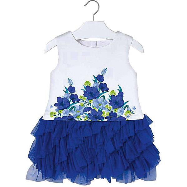 Нарядное платье MayoralОдежда<br>Характеристики товара:<br><br>• состав ткани: 68% полиэстер, 31% хлопок, 1% эластан<br>• подкладка: 82% полиэстер, 18% хлопок<br>• сезон: круглый год<br>• застёжка: скрытая молния на спинке<br>• страна бренда: Испания<br><br>Красивое платье без рукавов подходит для торжественных случаев. Имитирует двухслойность. Контрастная юбка с множеством оборок из сетчатой ткани. Украшена цветочным рисунком и обладает дышащими свойствами.