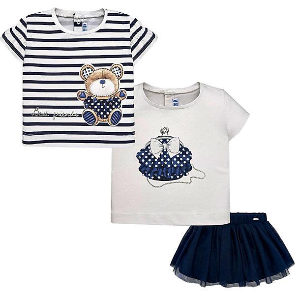 Комплект: футболка 2 шт, юбка Mayoral для девочки, Темно-синий