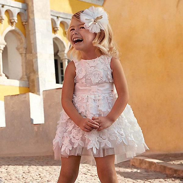 Купить Платье Mayoral для девочки, Китай, бежевый, 128, 122, 116, 98, 104, 92, 110, 134, Женский