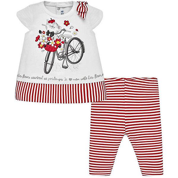 Комплект: футболка и леггинсы Mayoral для девочкиКомплекты<br>Характеристики товара:<br><br>• состав ткани: 95% хлопок, 5% эластан<br>• сезон: лето<br>• застёжка: кнопки<br>• страна бренда: Испания<br><br>Футболка дополнена объёмным бантиком на плече и украшена принтом. На спинке кнопки, которые облегчат процесс надевания. Рукава короткие, имеет свободный крой. Леггинсы на резинке сделаны из ткани с узором в полоску. Комплект обладает эластичными свойствами и обеспечивает удобство и комфорт.