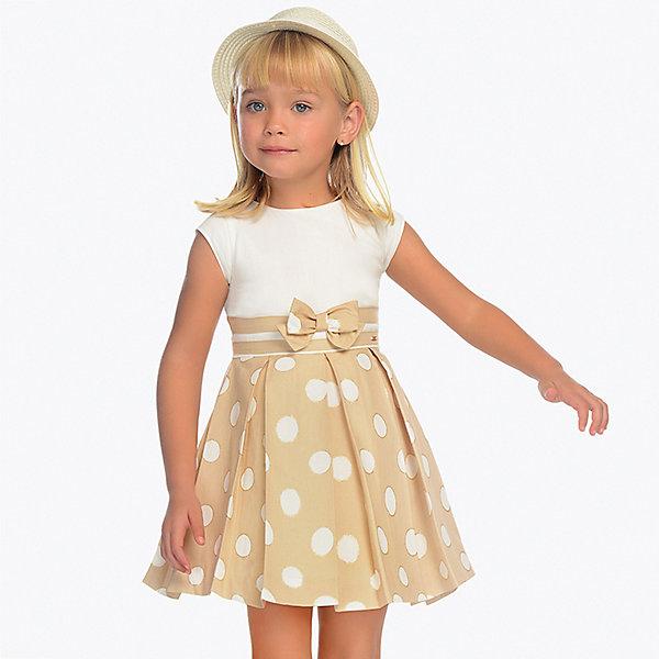Нарядное платье MayoralОдежда<br>Характеристики товара:<br><br>• состав ткани: 100% хлопок<br>• подкладка: 50% хлопок, 50% полиэстер<br>• сезон: круглый год<br>• застёжка: скрытая молния на спинке<br>• страна бренда: Испания<br><br>Платье с короткими рукавами, комфортно прилегает к талии. Контрастные полоски на поясе и юбка, украшенная узором в горошек. Дополнено декоративным бантиком и складками. Обладает дышащими свойствами. Подходит для повседневной носки и для праздничного случая.