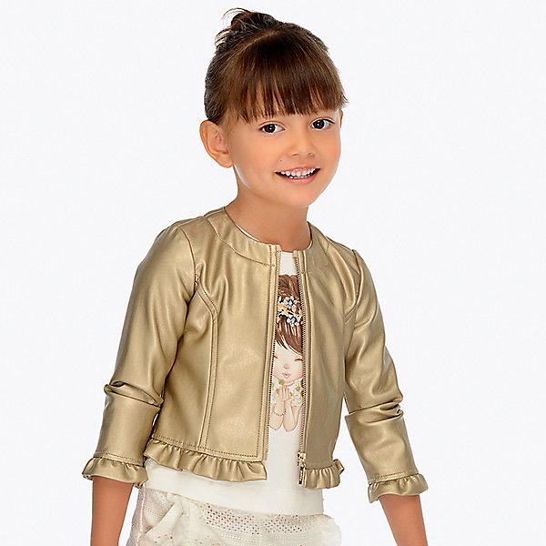 Куртка Mayoral для девочкиВетровки и жакеты<br>Характеристики товара:<br><br>• состав ткани: 80% полиуретан, 20% полиэстер<br>• подкладка: 100% полиэстер<br>• сезон: демисезон<br>• застёжка: молния<br>• куртка без капюшона<br>• страна бренда: Испания<br><br>Стильная куртка-ветровка изготовлена из искусственной кожи. Горловина круглой формы. Прямой крой и гладкая подкладка не сковывают свободу движений. Отделана оборками в складку на рукавах и по низу изделия.