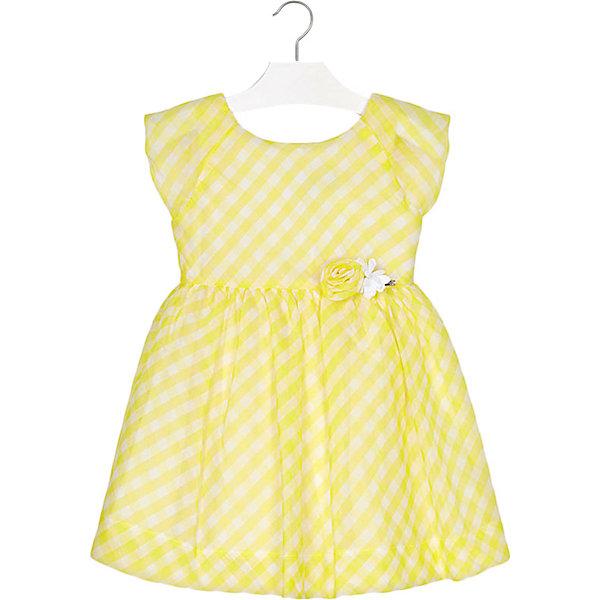 Платье Mayoral для девочкиОдежда<br>Характеристики товара:<br><br>• состав ткани: 69% хлопок, 31% полиэстер<br>• подкладка: 65% полиэстер, 35% хлопок<br>• сезон: лето<br>• застёжка: скрытая молния на спинке<br>• особенности: повседневное, нарядное<br>• платье с коротким рукавом<br>• страна бренда: Испания<br><br>Платье с узором в клетку имеет прилегающий силуэт. От талии отрезная юбка в складку. Горловина округлой формы. На спинке крылышки от линии плеч и лента с бантиком. Спереди на поясе украшено объёмным цветочком.