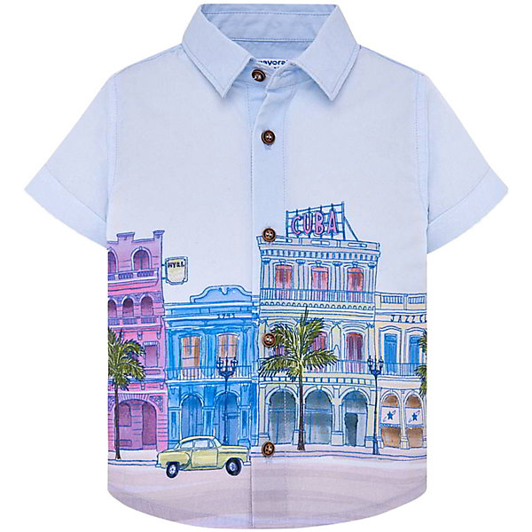 Рубашка MayoralБлузки и рубашки<br>Характеристики товара:<br><br>• состав ткани: 100% хлопок <br>• сезон: лето<br>• застёжка: пуговицы<br>• страна бренда: Испания<br><br>Рубашка прямого кроя. Короткие рукава с отворотами, классический отложной воротник. Удобная посадка обеспечивает комфорт при носке. Натуральная ткань с рисунком обладает дышащими свойствами.