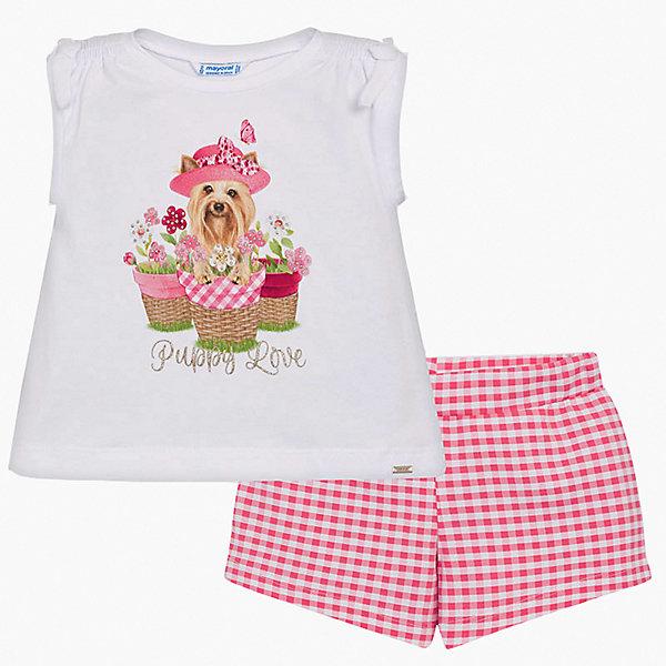 Комплект: Футболка и шорты Mayoral для девочкиКомплекты<br>Характеристики товара:<br><br>• состав ткани: 95% хлопок, 5% эластан<br>• сезон: лето<br>• застёжка: без застёжки<br>• в комплекте: футболка, шорты<br>• в размерах на 2-3 года могут быть незначительные отличия в декоративных элементах<br>• страна бренда: Испания<br><br>Футболка украшена декоративной сборкой на плечах. Имеет круглый вырез горловины. Декорирована принтом в виде милой собачки, горшочков с цветами, лепестки которых со стразами и надписью. Шорты с узором в клетку, на талии мягкая резинка. Комплект совершенно не сковывает движений. Обладает дышащими свойствами и хорошо тянется.