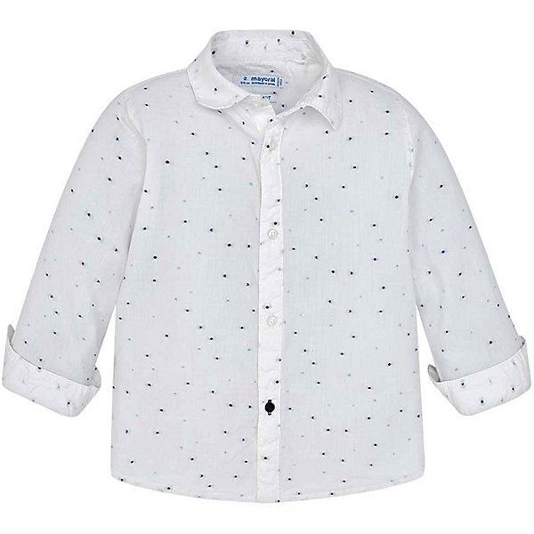 Рубашка Mayoral для мальчикаБлузки и рубашки<br>Характеристики товара:<br><br>• состав ткани: 100% хлопок<br>• сезон: круглый год<br>• застёжка: пуговицы<br>• манжеты рукавов на пуговицах<br>• страна бренда: Испания<br><br>Рубашка с мелким узором на ткани. Манжеты на рукавах можно подвернуть. Изделие с классическим отложным воротником. Модель из натурального материала обладает дышащими свойствами.