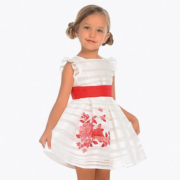 Нарядное платье MayoralОдежда<br>Характеристики товара:<br><br>• состав ткани: 100% полиэстер <br>• подкладка: 80% полиэстер, 20% хлопок<br>• состав пояса: 100% хлопок<br>• сезон: круглый год<br>• застёжка: скрытая молния на спинке<br>• страна бренда: Испания<br><br>Платье с узором в полупрозрачную полоску. Плиссированные короткие рукава. Украшено цветочным рисунком. Юбка в складку. На талии контрастный пояс, который при желании легко снимается при помощи пуговиц. Изделие обеспечивает комфортную посадку. Подходит для повседневной носки или для торжественного случая.