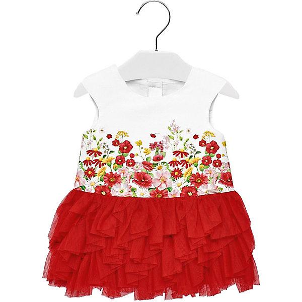 Платье Mayoral для девочкиПлатья<br>Характеристики товара:<br><br>• состав ткани: 59% хлопок, 40% полиэстер, 1% эластан<br>• подкладка: 100% хлопок <br>• сезон: круглый год<br>• застёжка: пуговицы на спинке<br>• страна бренда: Испания<br><br>Платье без рукавов, лямки широкие. Легко надевается благодаря максимальному расстёгиванию при помощи пуговиц. Украшено цветочным рисунком. Отрезная юбка контрастного цвета. Сделана из многослойных сетчатых оборок. Обеспечивает комфортную посадку и пропускает воздух.