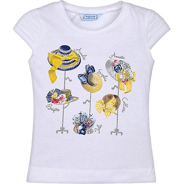 Купить Футболка Mayoral для девочки, Турция, желтый/белый, 98, 134, 122, 128, 92, 110, 116, 104, Женский