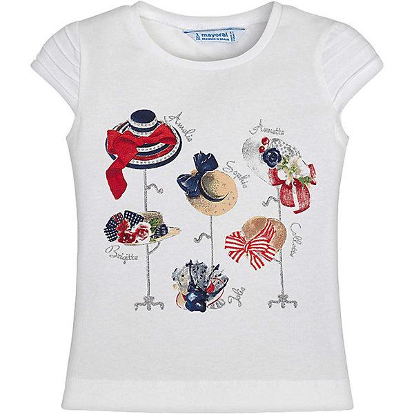 Футболка Mayoral для девочкиФутболки, поло и топы<br>Характеристики товара:<br><br>• состав ткани: 95% хлопок, 5% эластан<br>• сезон: лето<br>• застёжка: без застёжки<br>• футболка с коротким рукавом<br>• в размерах на 2-3 года могут быть незначительные отличия в декоративных элементах<br>• страна бренда: Испания<br><br>Футболка из эластичного материала обладает дышащими свойствами. Прямой крой с комфортной посадкой не стесняет движений. Горловина круглой формы. Декорирована принтом в виде летних шляпок.