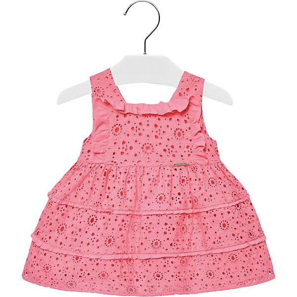 Платье Mayoral для девочкиПлатья<br>Характеристики товара:<br><br>• состав ткани: 100% хлопок<br>• подкладка: 100% хлопок <br>• сезон: круглый год<br>• застёжка: скрытая молния на спинке<br>• особенности: повседневное, нарядное<br>• страна бренда: Испания<br><br>Ажурное платье без рукавов с горловиной квадратной формы. Натуральный и дышащий материал с перфорацией. Украшено оборками, юбка в складку. Комфортная посадка обеспечивает удобство при носке.