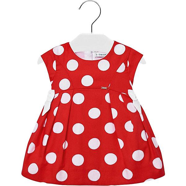 Платье Mayoral для девочкиПлатья<br>Характеристики товара:<br><br>• состав ткани: 100% хлопок<br>• подкладка: 100% хлопок<br>• сезон: круглый год<br>• застёжка: скрытая молния на спинке<br>• страна бренда: Испания<br><br>Платье из материала, обладающего дышащими свойствами, рукава короткие. Горловина круглая. Линия талии завышена, отрезная юбка в складку. Декоративные бантики по бокам. Декорирована узором в контрастный горошек. Обеспечивает удобство и комфортную посадку.