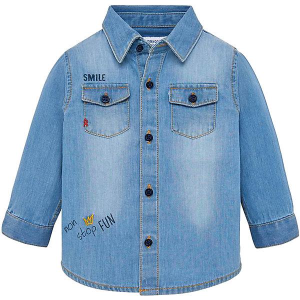 Джинсовая рубашка Mayoral, Бангладеш, синий, 86, 80, 92, 98, Мужской  - купить со скидкой