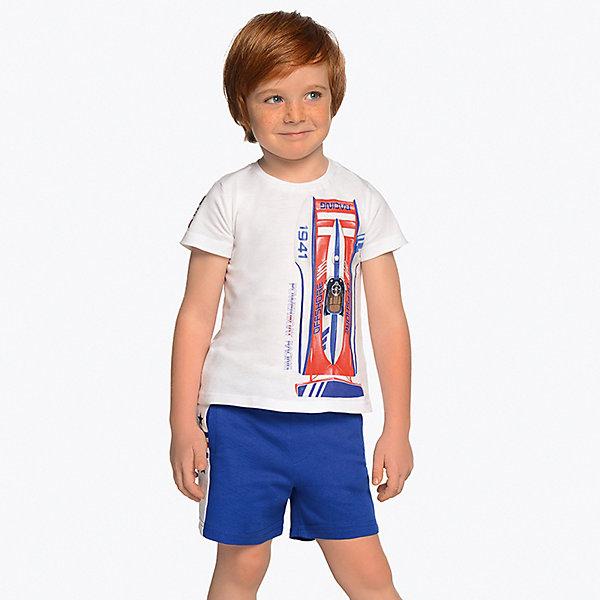 Купить Комплект Mayoral: футболка и шорты, Индия, синий/белый, 92, 128, 110, 116, 104, 134, 122, 98, Мужской