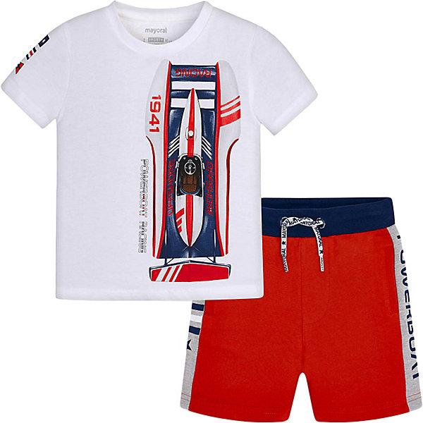 Купить Комплект Mayoral: футболка и шорты, Индия, красный/белый, 122, 116, 110, 128, 98, 134, 104, 92, Мужской