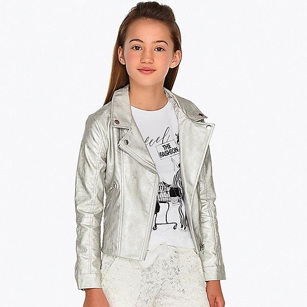 Куртка Mayoral для девочкиВерхняя одежда<br>Характеристики товара:<br><br>• состав ткани: 80% полиуретан, 17% вискоза, 3% эластан<br>• подкладка: 100% полиэстер<br>• сезон: демисезон<br>• застёжка: молния<br>• манжеты рукавов на кнопке<br>• страна бренда: Испания<br><br>Куртка дополнена отложным воротником с лацканами, украшенными кнопками. Изделие укороченного кроя с гладкой подкладкой. Обеспечивает защиту от ветра. Комфортная посадка и удобный крой не стесняют движений. Имеются карманы на молнии.