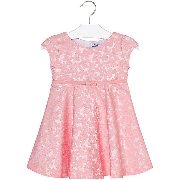 Платье Mayoral для девочкиОдежда<br>Характеристики товара:<br><br>• состав ткани: 99% полиэстер, 1% эластан<br>• подкладка: 65% полиэстер, 35% хлопок<br>• сезон: круглый год<br>• застёжка: скрытая молния на спинке<br>• страна бренда: Испания<br><br>Платье с цветочным узором на ткани. Модель с короткими рукавами и круглым вырезом на горловине. Юбка в складку. На талии декоративная лента с бантиком. Изделие можно использовать для повседневной носки или надевать к особому случаю.
