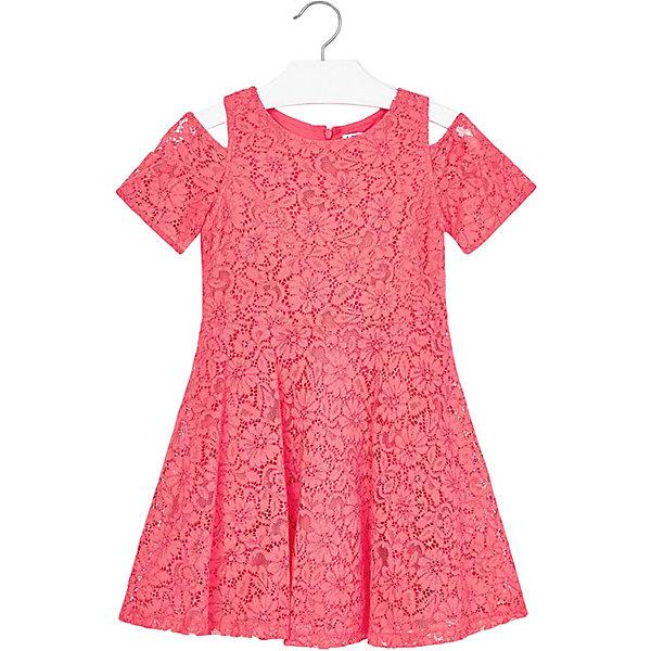 Платье Mayoral для девочкиОдежда<br>Характеристики товара:<br><br>• состав ткани: 35% хлопок, 35% вискоза, 30% полиамид<br>• подкладка: 80% полиэстер, 20% хлопок<br>• сезон: круглый год<br>• застёжка: скрытая молния на спинке<br>• страна бренда: Испания<br><br>Платье с короткими рукавами и открытой линией плеча. Горловина круглая, юбка в складку. Изготовлено из кружевной ткани с цветочным узором. Прилегает к талии и обеспечивает комфортную посадку. Подходит для торжества или для повседневной носки.