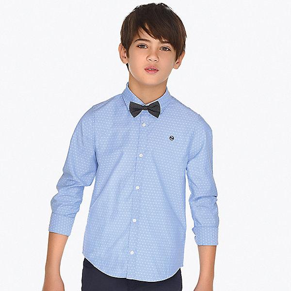 Рубашка Mayoral для мальчикаБлузки и рубашки<br>Характеристики товара:<br><br>• состав ткани: 50% хлопок, 50% полиэстер<br>• состав галстука: 100% хлопок<br>• сезон: круглый год<br>• застёжка: пуговицы<br>• манжеты рукавов на пуговицах<br>• страна бренда: Испания<br><br>Рубашка дополнена съёмным галстуком-бабочкой с возможность регулировки обхвата. Рукава подворачиваются. Подходит для школы или торжественного случая. Натуральная ткань обеспечивает воздухообмен. Удобная посадка и комфортный крой.