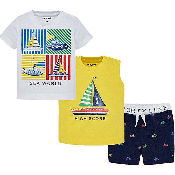 Купить Комплект Mayoral: футболка, майка и шорты, Индия, разноцветный, 74, 98, 92, 86, 80, Мужской