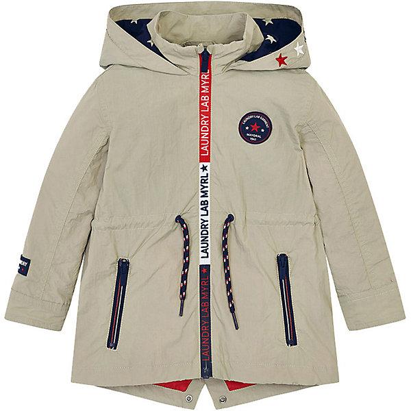 Куртка Mayoral для мальчикаДемисезонные куртки<br>Характеристики товара:<br><br>• состав ткани: 100% полиамид<br>• подкладка: 100% хлопок<br>• сезон: демисезон<br>• застёжка: молния<br>• капюшон не снимается<br>• манжеты рукавов на кнопках<br>• страна бренда: Испания<br><br>Куртка-парка дополнена мягкой дышащей подкладкой. На талии шнурки-завязки, позволяющие отрегулировать обхват и посадку по фигуре. Высокий воротник -стойка защищает шею, внутри пришита петелька. Материал не позволяет ветру проникнуть внутрь. Внизу по спинке треугольный разрез. Два кармана на молнии. Подкладка капюшона контрастного цвета со звёздным узором. Декорирована контрастными деталями.