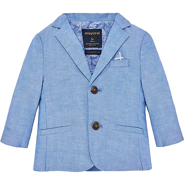 Пиджак Mayoral для мальчикаВерхняя одежда<br>Характеристики товара:<br><br>• состав ткани: 84% хлопок, 16% лён<br>• сезон: круглый год<br>• застёжка: пуговицы<br>• страна бренда: Испания<br><br>Облегчённый пиджак без подкладки подходит для любого торжественного случая. Треугольный вырез горловины дополнен отложным воротником с лацканами. Классический крой обеспечивает комфорт и удобство, а натуральные материалы позволяют телу дышать.