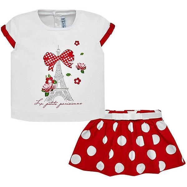 Купить Комплект: Топ и юбка Mayoral для девочки, Португалия, красный, 92, 98, 80, 86, 74, Женский
