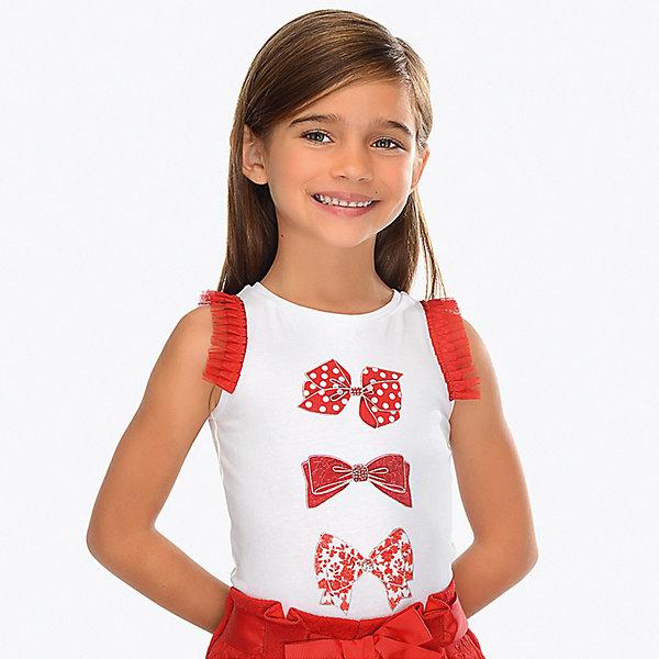 Купить Майка Mayoral для девочки, Турция, красный, 92, 116, 128, 134, 104, 98, 122, 110, Женский
