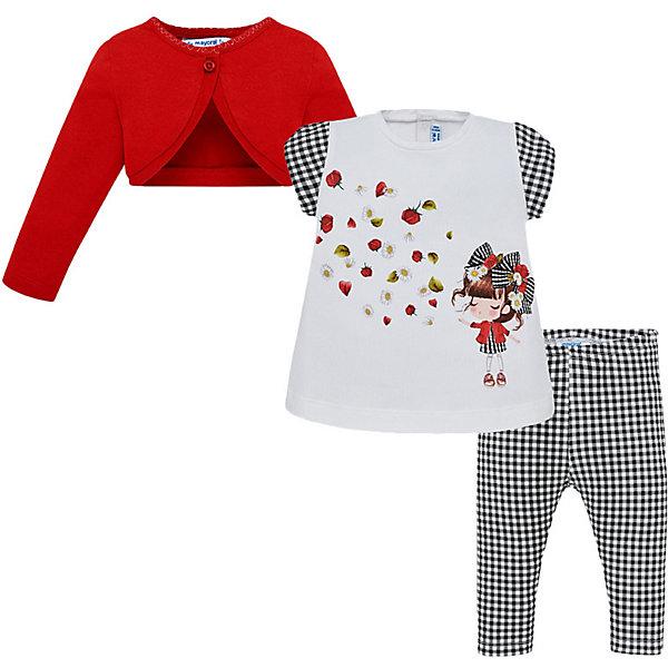 Mayoral Комплект Mayoral: кардиган, футболка и леггинсы mayoral футболка с длинным рукавом mayoral для девочки