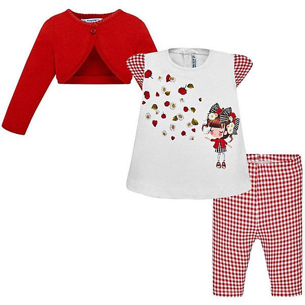 Купить Комплект: Жакет, футболка и леггинсы Mayoral для девочки, Индия, красный, 86, 80, 74, 98, 92, Женский