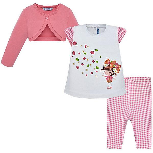 Купить Комплект: Жакет, футболка и леггинсы Mayoral для девочки, Индия, розовый, 74, 92, 98, 80, 86, Женский