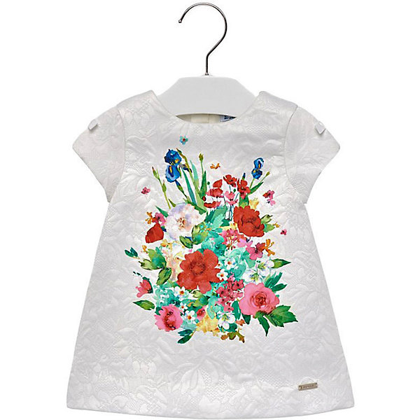 Платье Mayoral для девочкиПлатья<br>Характеристики товара:<br><br>• состав ткани: 100% полиэстер<br>• подкладка: 100% хлопок<br>• сезон: круглый год<br>• застёжка: скрытая молния на спинке<br>• страна бренда: Испания<br><br>Платье с цветочным принтом подходит для особого случая. Рукава изделия короткие, круглая горловина. Имеет удобный свободный крой и дышащую подкладку. Металлическая нашивка с логотипом бренда на подоле.