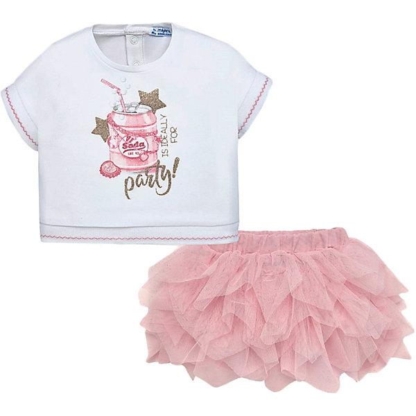 Купить Комплект: Топ и юбка Mayoral для девочки, Китай, розовый, 86, 92, 80, 98, Женский