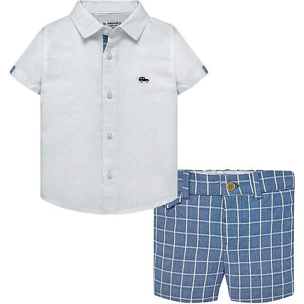 Купить Комплект Mayoral: рубашка и шорты, Китай, синий/белый, 80, 92, 98, 86, Мужской