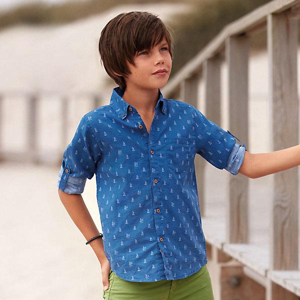 Купить Рубашка Mayoral для мальчика, Индия, голубой, 167/172, 161/166, 153/160, 146/152, 128, 134/140, Мужской