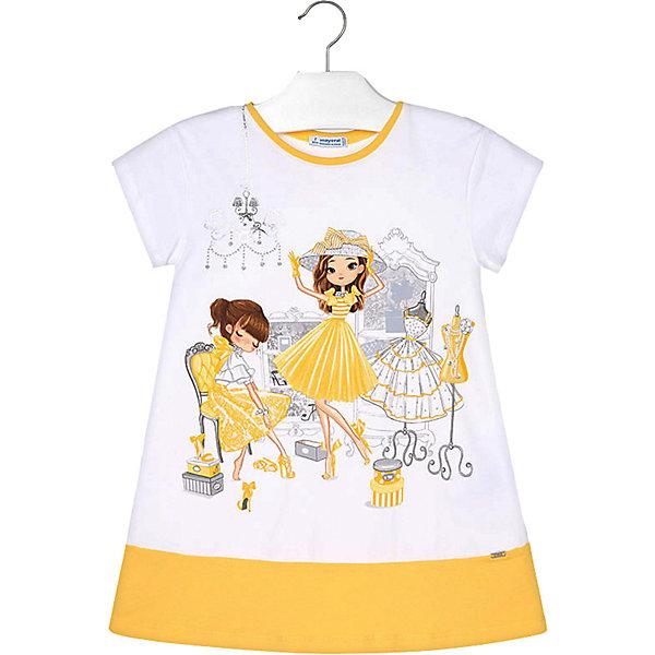 Купить Платье Mayoral для девочки, Турция, желтый, 134, 116, 110, 122, 128, 104, 98, 92, Женский