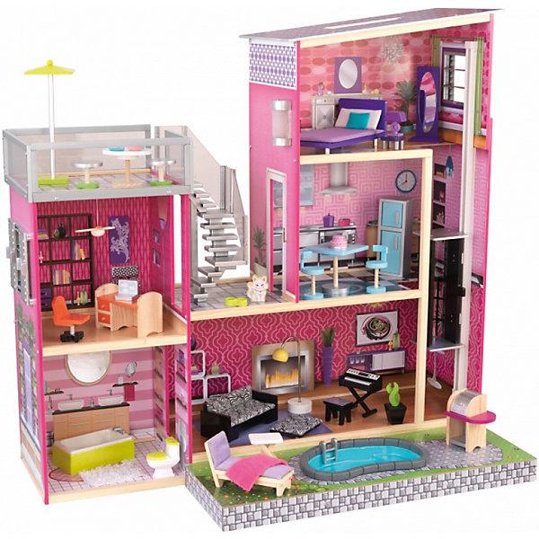 KidKraft Кукольный дом для Барби KidKraft Глянец, с мебелью и бассейном кукольный домик kidkraft для барби аннабель с мебелью в подарочной упаковке