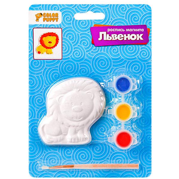 Набор для творчства Color Puppy Роспись магнита ЛьвёнокНаборы для росписи<br>Характеристики товара:<br><br>• материал: гипс, пластик<br>• в комплекте: магнит, краски, кисточка<br>• количество цветов: 3<br>• размер фигурки: 7х7 см<br>• объём каждой краски: 2,2 мл<br>• упаковка: блистер на картоне<br>• страна бренда: Россия<br><br>В наборе есть всё необходимое для декора магнитика, выполнен в виде львёнка. Используя цветные краски раскрась поделку на свой вкус. Подари другу или повесь на холодильник. Изготовлен из качественных и безопасных материалов.