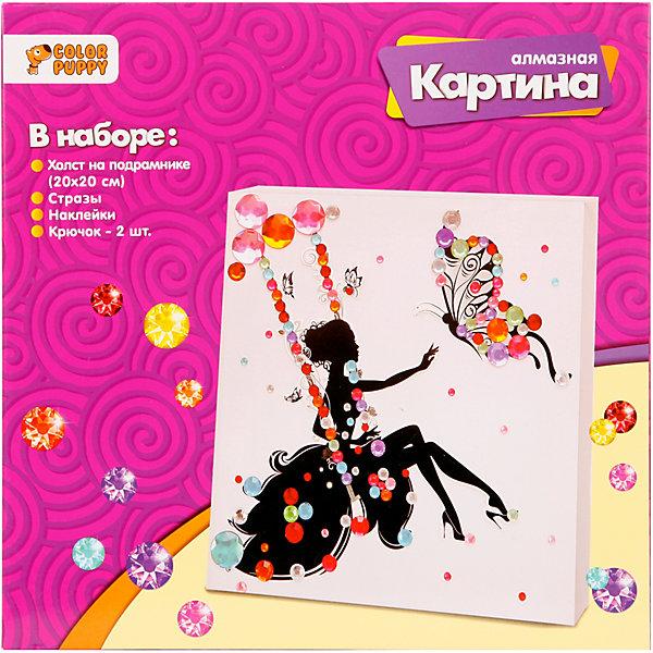 Color Puppy Алмазная картина Принцесса на качелях, 20х20 см