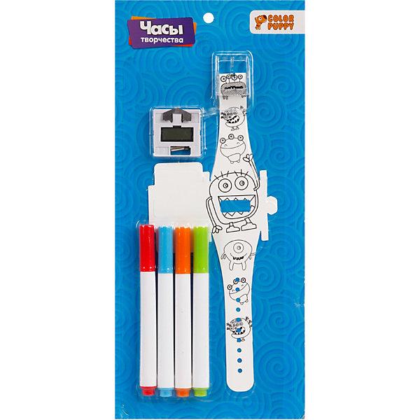 Набор для творчества Color Puppy Раскрась часы, МонстрикиНаборы для росписи<br>Характеристики товара:<br><br>• материал: пластик, полимерные материалы, металл<br>• в комплекте: часы, 4 маркера<br>• тип батареек: 2хLR44<br>• наличие батареек: входят в комплект<br>• упаковка: блистер на картоне<br>• страна бренда: Россия<br><br>Браслет часов чёрно-белого цвета с рисунком в виде монстриков, раскрашивается разноцветными маркерами. Достаньте блокиратор из часового механизма и установите время и дату. Нажав на левую кнопку дважды появится установка даты, которая корректируется правой кнопкой и фиксируется левой. Затем левая кнопка активирует установку времени. Когда значения верно заданы нажмите левую кнопку и сохраните. Вставьте устройство в ремешок. Стильные часы с уникальным дизайном готовы.