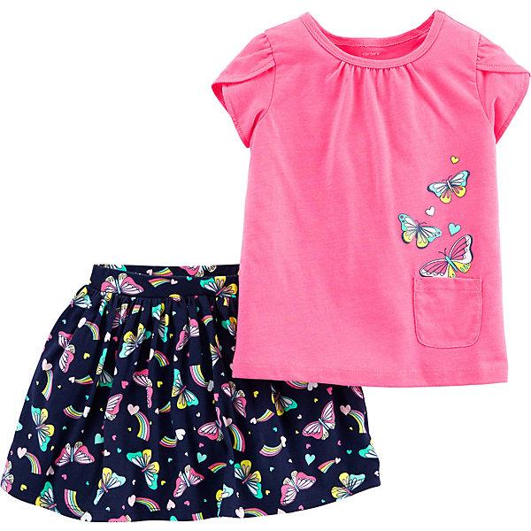 Купить Комплект: Футболка и юбка CARTERS для девочки, carter`s, Камбоджа, розовый, 98, 110, 104/110, 92, Женский
