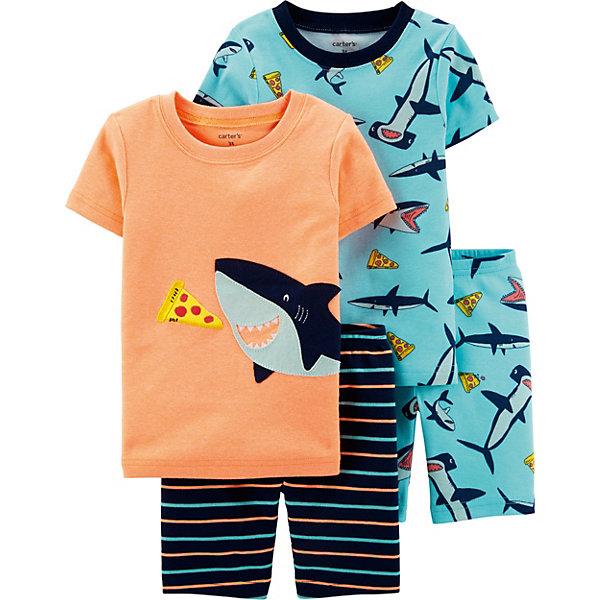 Пижама 2 шт carter's для мальчикаПижамы и сорочки<br>Характеристики:<br><br>• состав ткани: 100% хлопок<br>• сезон: круглый год<br>• страна бренда: США<br><br>Пижама выполнена в свободном крое и украшена различными узорами. Классические футболки с широкой горловиной и короткими рукавами. Прямые удлинённые шорты с резинкой на талии, посадка будет комфортной и удобной. Натуральная ткань превосходно дышит.