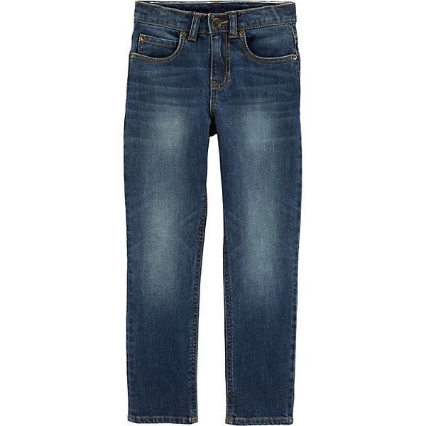Джинсы Carter'sДжинсы<br>Характеристики товара:<br> <br>• состав ткани: 99% хлопок, 1% эластан<br>• сезон: демисезон<br>• застёжка: молния, пуговица<br>• шлёвки для ремня<br>• страна бренда: США<br> <br>Классические джинсы с пятью карманами, украшенными клёпками спереди. Комфортно облегают. Эффект потёртостей. Изделие выполнено в прямом крое из дышащего материала.