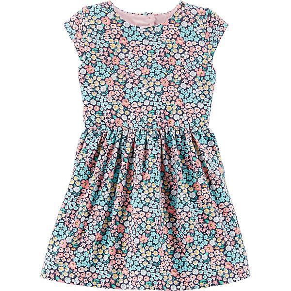 Платье CartersПлатья<br>Характеристики товара:<br> <br>• состав ткани: 95% хлопок, 5% эластан<br>• сезон: лето<br>• застёжка: пуговицы<br>• страна бренда: США<br> <br>Платье изготовлено из дышащей ткани. Украшено цветочным рисунком, на спинке вырез в форме сердца. Отрезная юбка в небольшую складку. Эластичный материал обеспечивает комфортную посадку.