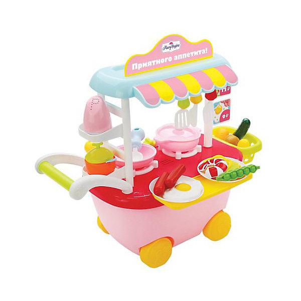 Игровой набор Mary Poppins  Кафе Приятного аппетита, свет/звукИгрушечные продукты питания<br>Характеристики:<br><br>? материал: пластик<br>? батарейки: требуется 3 батарейки типа АА на 1,5V, не входят в комплект<br>? в наборе: тележка на колёсиках с плитой, красочные декоративные наклейки, 10 купюр, 2 тарелки, сковородка, кастрюля с крышкой, глубокая тарелка, крышка, 3 подставки под тарелки, перечница, лопаточка с перфорацией, ложка, безопасный ножик, вилка, 2 сосиски, кукуруза, горошек, креветка, картошка, огурец, морковь, яичница<br>? размер в собранном виде: 27*18*31 см<br>? страна бренда: Россия<br><br>Игрушечное кафе с набором продуктов и посуды оснащено светозвуковыми функциями. При повороте круглых переключателей будут слышны реалистичные звуки готовки, а комфорки - подсвечиваться мерцанием огня, словно на настоящей плите.